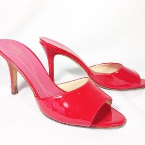 Kate Spade Red Open Toe Mules Patent Leather 7